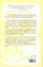 Tresor des proverbes ; dictons, formulettes et conjurations magiques des bretons - 4ème de couverture - Format classique