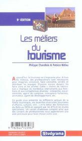 Les metiers du tourisme - 4ème de couverture - Format classique