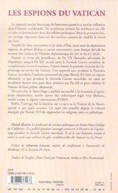 Les espions du vatican espionnage et intrigues de napoleon a la shoah - 4ème de couverture - Format classique