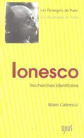 Ionesco ; recherches identitaires - Intérieur - Format classique