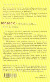 Ionesco ; recherches identitaires - 4ème de couverture - Format classique