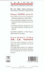 LEXIPRO ; les mots-clés de la vente ; anglais - 4ème de couverture - Format classique