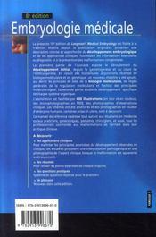Embryologie médicale (8e édition) - 4ème de couverture - Format classique