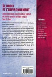 Le droit et l'environnement - 4ème de couverture - Format classique