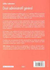Droit Administratif General ; 2e Edition - 4ème de couverture - Format classique
