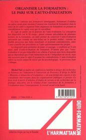 Organiser La Formation Le Pari Sur L'Auto-Evalutation - 4ème de couverture - Format classique
