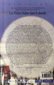 Les petites italies dans le monde - 4ème de couverture - Format classique