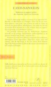 L'anti-napoleon ecrits inedits et papiers de noel-antoine apuril du pontreau, chanoine de la congreg - 4ème de couverture - Format classique