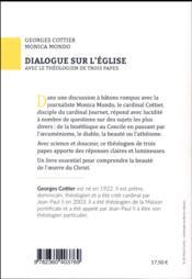 Dialogue sur l'Eglise avec le théologien de trois papes - 4ème de couverture - Format classique
