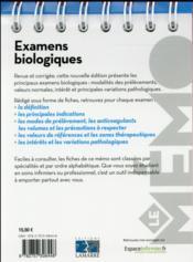 Examens biologiques (2e édition) - 4ème de couverture - Format classique