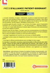 Précis d'alliance patient-soignant ; professionnels infirmiers IFSI UE 3, 4,5 - 4ème de couverture - Format classique