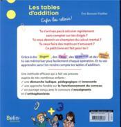 Les tables d'addition, enfin les retenir ! - 4ème de couverture - Format classique