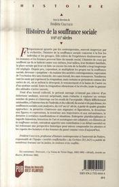 Histoires de la souffrance sociale, xvii-xx siècles - 4ème de couverture - Format classique