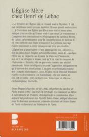 L'Eglise Mère chez Henri de Lubac - 4ème de couverture - Format classique