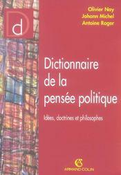 Dictionnaire de la pensée politique ; idées, doctrines et philosophes - Intérieur - Format classique