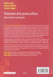 Dictionnaire de la pensée politique ; idées, doctrines et philosophes - 4ème de couverture - Format classique