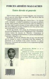Forces Armees Malgaches: Entre Devoir Et Pouvoir - 4ème de couverture - Format classique