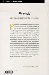 Potocki et l'imaginaire de la création - 4ème de couverture - Format classique