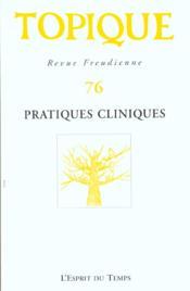 Topique n 76 pratiques cliniques - Couverture - Format classique