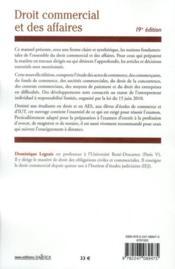 Droit commercial et des affaires (19e édition) - 4ème de couverture - Format classique