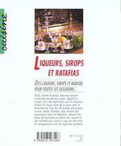 Liqueurs, sirops et ratafias - 4ème de couverture - Format classique