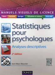 Manuel visuel des statistiques pour psychologues ; analyses descriptives (2e édition) - Couverture - Format classique