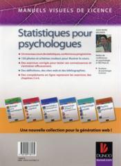 Manuel visuel des statistiques pour psychologues ; analyses descriptives (2e édition) - 4ème de couverture - Format classique