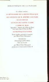 Oeuvres t.2 ; la rôtisserie de la reine Pédauque ; les opinions de M. Jérôme Coignard ; le lys rouge ; le puits de Sainte Claire ; l'orme du mail ; le mannequin d'osier - 4ème de couverture - Format classique
