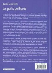 Les partis politiques (2e édition) - 4ème de couverture - Format classique