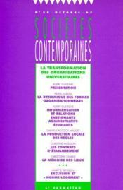 Societes Contemporaines N.28 ; La Transformation Des Organisations Universitaires - Couverture - Format classique