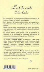 L'art du conte ; cahier d'atelier ; le Ludion littéraire - 4ème de couverture - Format classique