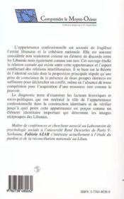 Construction identitaire et appartenance confessionnelle au Liban ; approche pluridisciplinaire - 4ème de couverture - Format classique