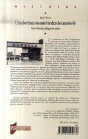 L'insubordination ouvrière dans les années 68 ; essai d'histoire politique des usines - 4ème de couverture - Format classique