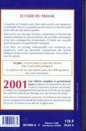 Code Du Travail 2001 - 4ème de couverture - Format classique