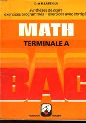 Math - Terminale A - Couverture - Format classique