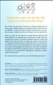 Miracle morning ; spécial famille - 4ème de couverture - Format classique