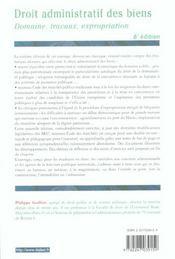Droit Administratif Des Biens ; Domaines Travaux Expropriations ; 6e Edition - 4ème de couverture - Format classique