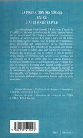La Production Des Normes Entre Etat Et Societe Civile - 4ème de couverture - Format classique