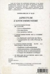Revue Communisme N.62/63 ; Aspects De L'Anti-Communisme - 4ème de couverture - Format classique