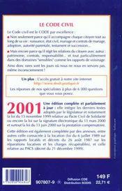 Code Civil 2001 - 4ème de couverture - Format classique