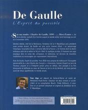 De Gaulle, l'esprit du possible - 4ème de couverture - Format classique