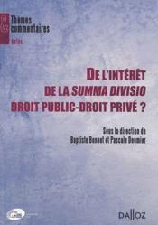 De l'intérêt de la summa divisio droit public-droit privé ? - Couverture - Format classique