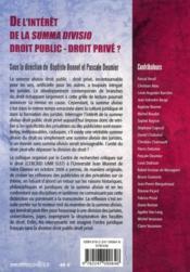De l'intérêt de la summa divisio droit public-droit privé ? - 4ème de couverture - Format classique