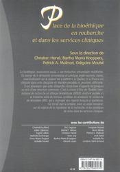 Place de la bioethique en recherche et dans les services cliniques - 1ere edition - 4ème de couverture - Format classique