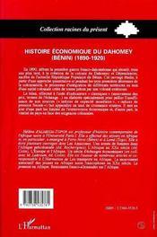 Histoire Economique Du Dahomey Benin T.2 - 4ème de couverture - Format classique