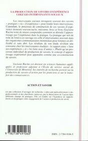 La Production De Savoirs D'Experience Chez Les Intervenants Sociaux - 4ème de couverture - Format classique