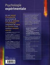 Psychologie expérimentale - 4ème de couverture - Format classique