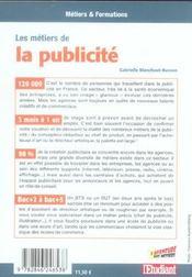 Les métiers de la publicité - 4ème de couverture - Format classique
