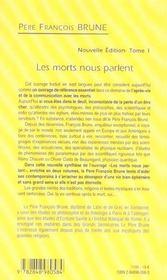 LES MORTS NOUS PARLENT. Tome I (Nouvelle édition) - 4ème de couverture - Format classique