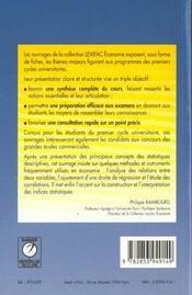 Statistiques appliquees a l'economie - 4ème de couverture - Format classique